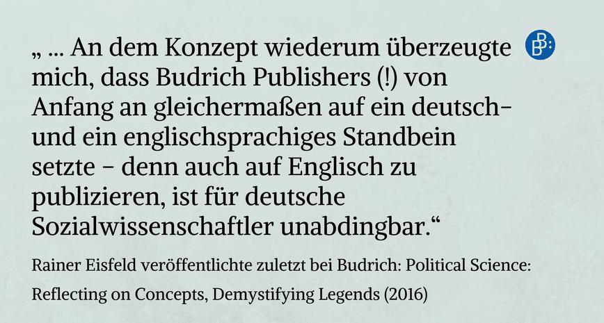 Rainer Eisfeld empfiehlt Budrich