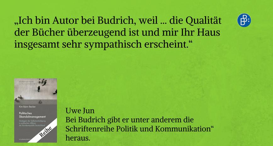 Uwe Jun empfiehlt Budrich