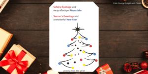 Weihnachtsgeschenke und Weihnachtskarte mit allen guten Wünschen für die Weihnachtszeit und das Neue Jahr