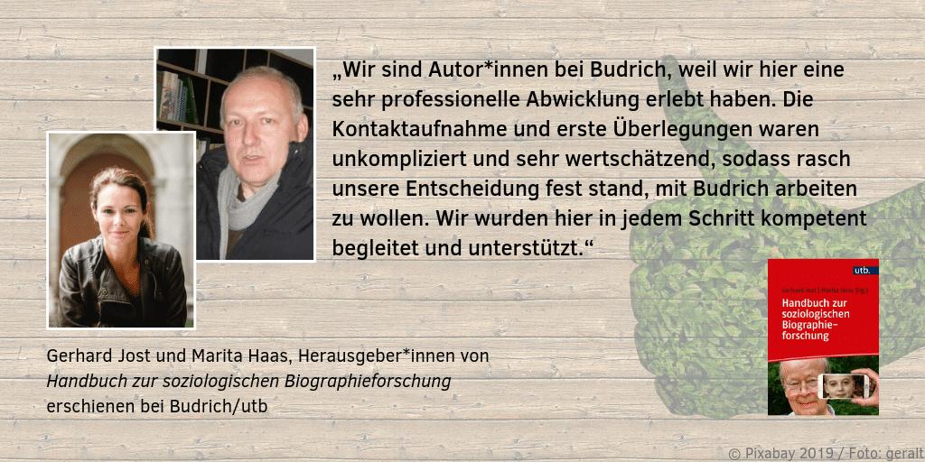 Feedback zum Verlag Gerhard Jost Marita Haas